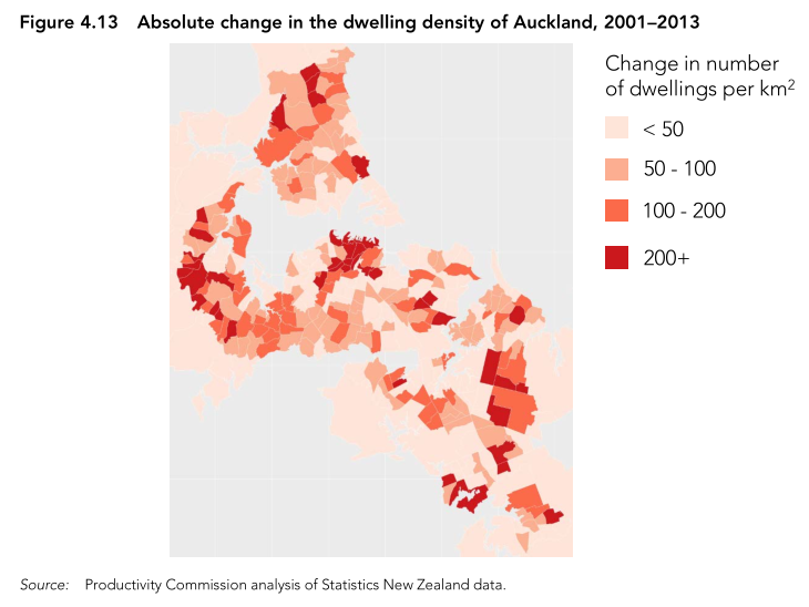 Map of density increases in Auckland
