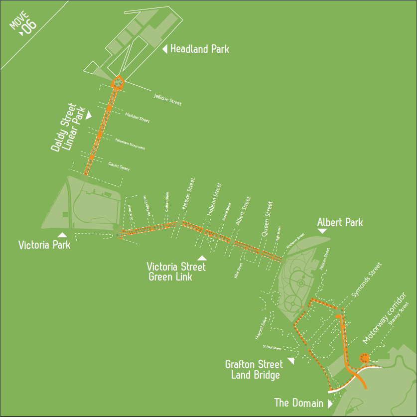 "Map of Auckland City Centre from City Centre Masterplan, showing proposed ""green links"" between parks"