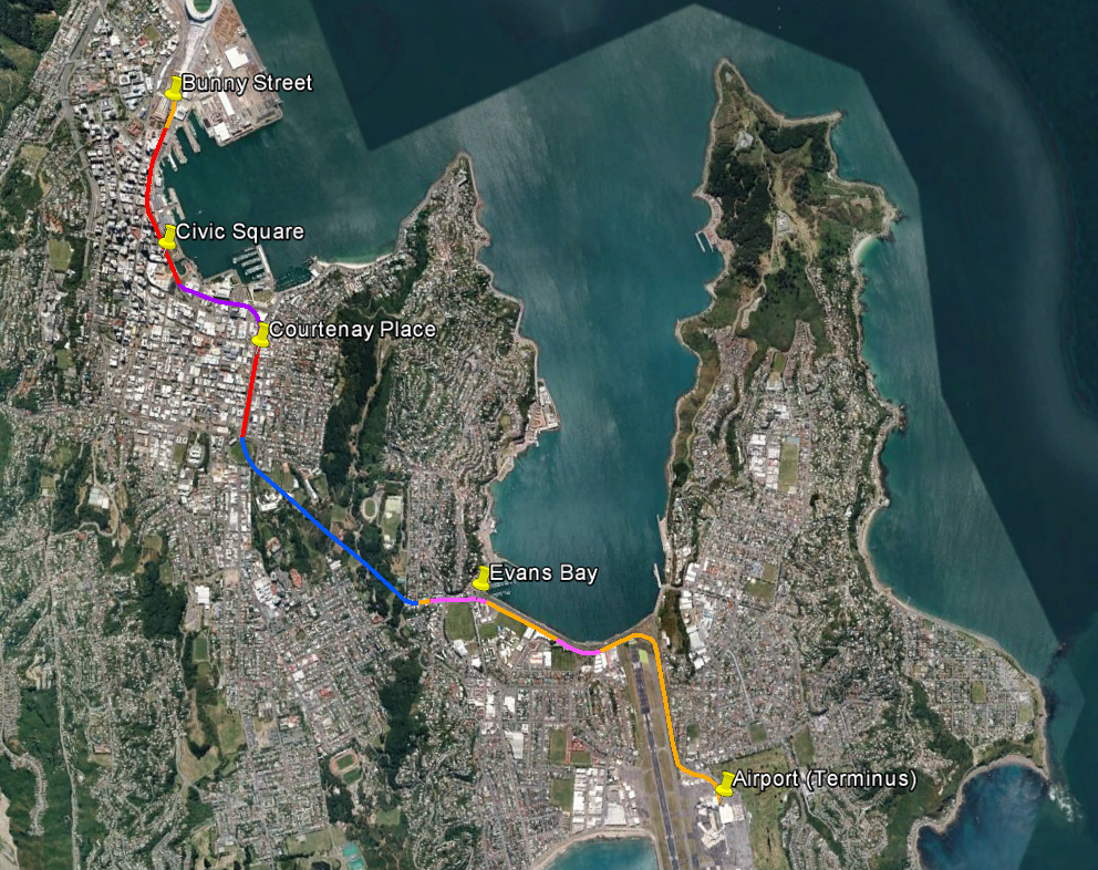 Map of proposed rail route, Wellington Station to Airport via Mount Victoria
