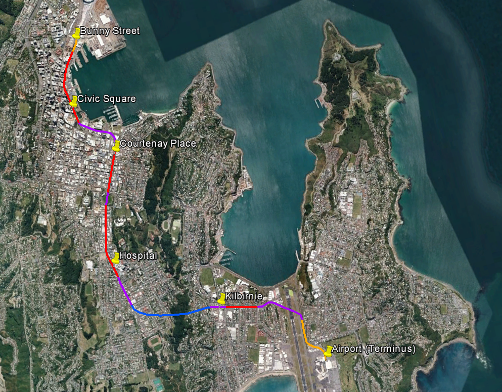 Map of proposed rail route, Wellington Station to Airport via Newtown