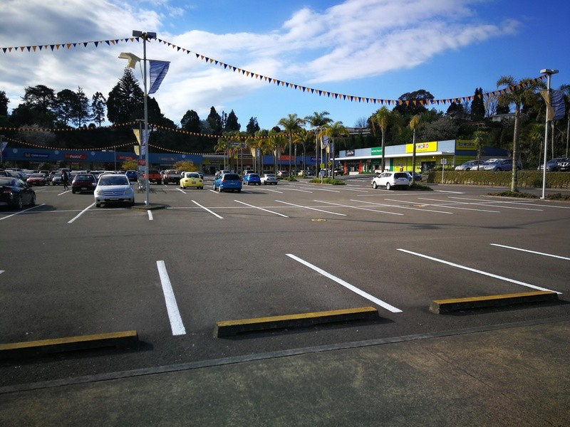 Half-empty surface carparking at the Fraser Cove mall in Tauranga