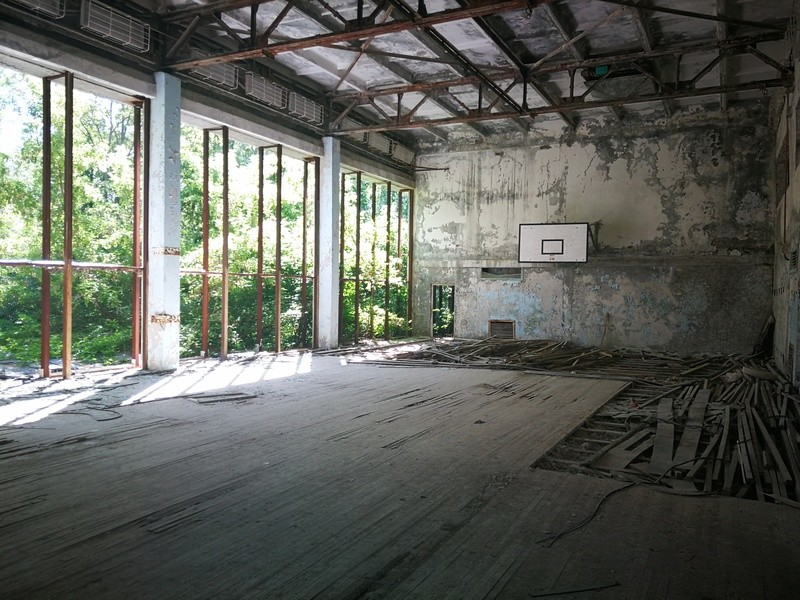 An destroyed indoor basketball court