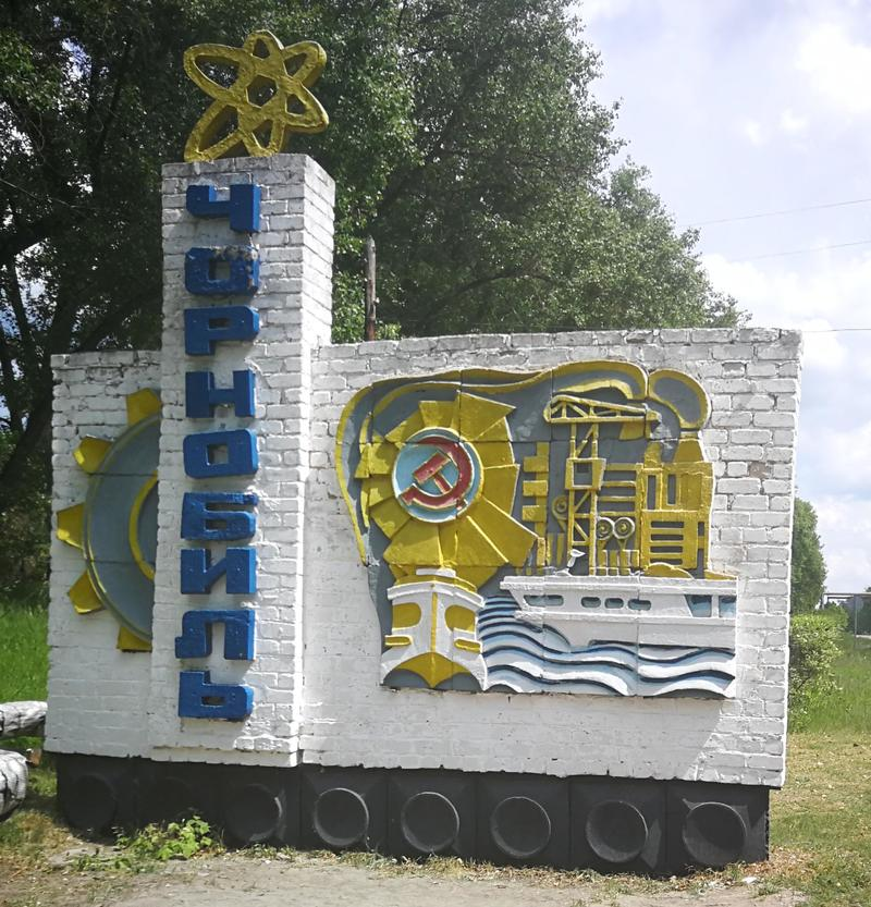 Sign welcoming people entering the town of Chernobyl