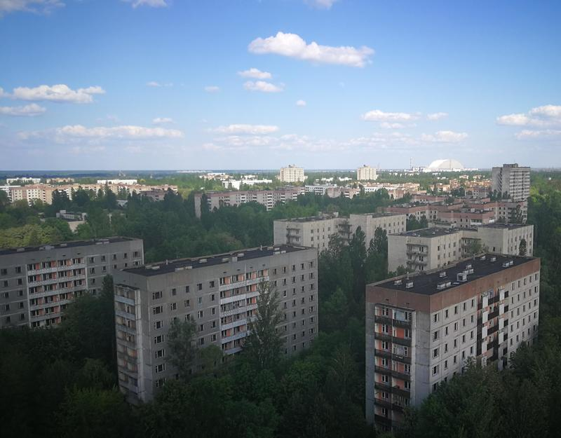 The town of Pripyat from above