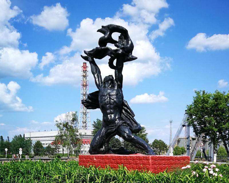 The statue of Prometheus at Chernoybl